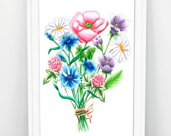 Hand-drawn poster of a bouquet of wild flowers