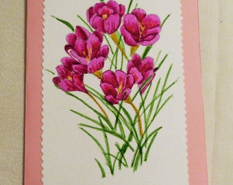 Handmade Greeting Card,  5x7 Greeting Cards, Hand Painted Card, Purple Flowers Greeting Card, Friend Greeting Card, Made in the USA, #52