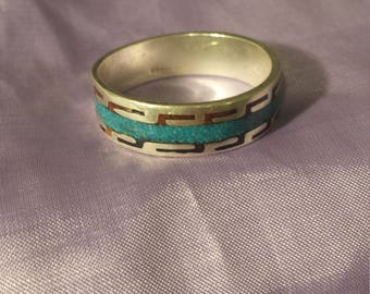Turquoise Inlay Native American Sterling Silver Ring