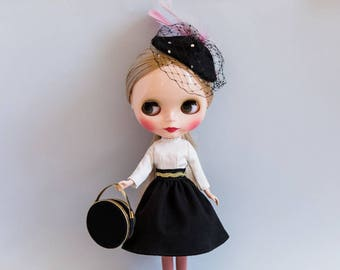 Blythe Doll Outfit - Black & White A-line Skirt Suit