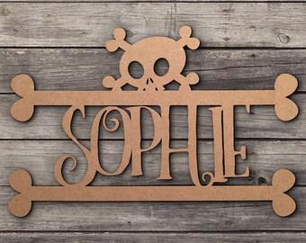 Skull Personalised Door Wall Name Tag Sing Plaques Goth Emo Rock Metal MDF