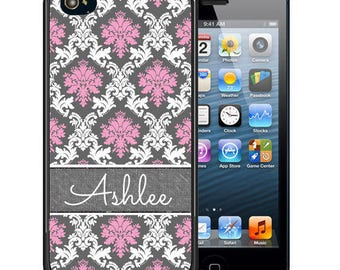 Personalized Rubber Case For iPhone X, 8, 8 plus, 7, 7 plus, 6s, 6s plus, 5, 5s, 5c, SE - Pink White Gray Demask
