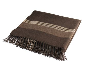 Eco Yak Down Blanket Mongolian 100% Yak Down Blanket Wool Throw Travel Throw - Dark Brown and Coffee Brown Striped