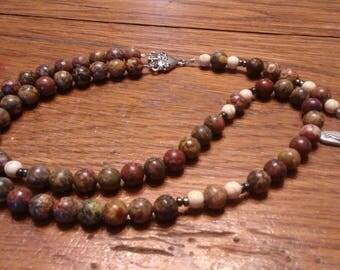 Catholic Rosary, Natural Leopard Jasper Stone, 5 Decade Rosary, Heirloom Quality, Flex Wire