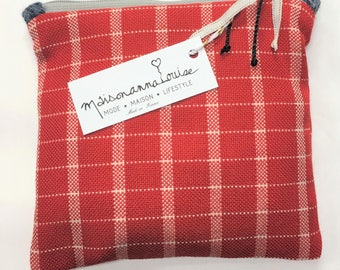 Vintage wool red and white fabric pouch