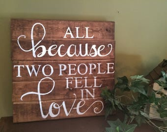 All Because Two People Fell In Love, painting on wood