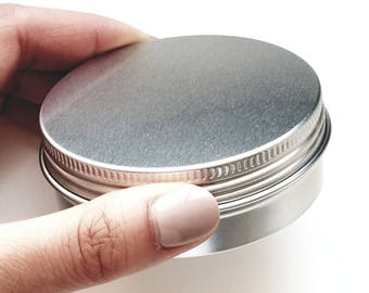 Silver Aluminum Tin Jar Can Container for DIY Beauty Cosmetics Storage Balms Salves Lotions Butters Etc 2 Oz Large High Quality!