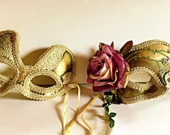 The Serpent and the Rose, couples masks, Mardi Gras, lovers masks, Halloween masks, role playing masks, costume masks, festival masks