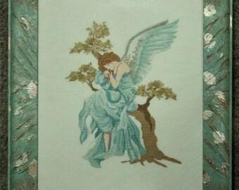 Angel on Tree Cross Stitch Framed/angel on tree cross-Stitch already framed