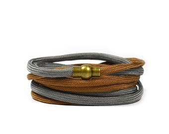 Multi Wrap Paracord in Grey and Brown Bracelet