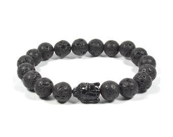 10mm Lava Rock with Black Acrylic Buddha Bracelet