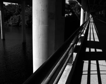Black and White Photo of a Bridge over the Colorado River II  //  Photography in Austin, Texas