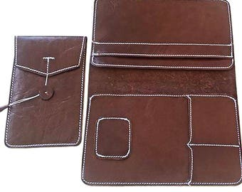All wallet + natural leather cell phone case