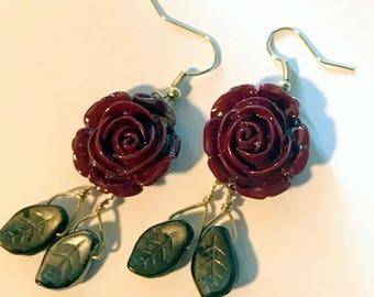 Boho Acrylic Rose Earrings