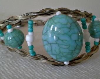Turquoise beaded horse hair bracelet