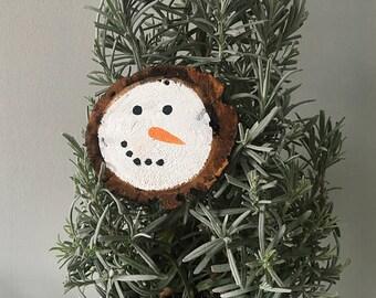 Rustic christmas ornament - snowman