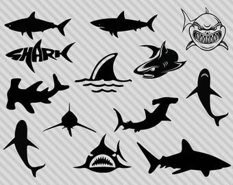 Shark Svg Bundle Clipart Silhouette Hammerhead Great