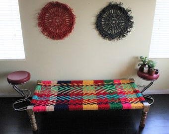 Modern Rope Bed - Multicolor - Indian Vintage Furniture Charpoy - Handcrafted Wooden Frame