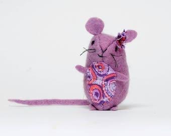 Little Purple Felt Mouse,  Handmade Felt Mouse,  Little Pocke Size Felt Mouse,  Felt Mouse Gift,  Mouse made from Organic Wool Felt