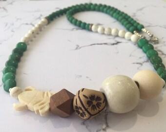 Green and Cream Howlite Gemstone Necklace