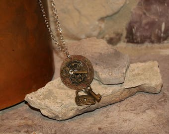 Rustic metal washer necklace with copper chain