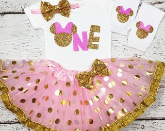 Birthday girl outfit,Pink&Gold One Birthday Minnie mouse outfit, Minnie mouse One bodysuit, Minnie mouse  smash cake