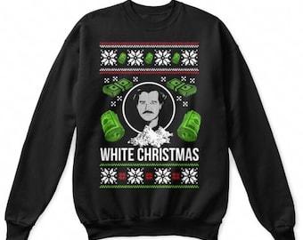 White Christmas Pablo Escobar Narcos Plata O Plomo Silver Or Lead Funny Novelty Christmas Jumper Sweatshirt
