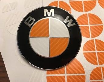 Orange and White Carbon Fiber Vinyl Overlay Decal for ALL BMW Emblems