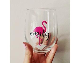 Flamingo & Name Wine Glass- Stemless or Stem Glass Options