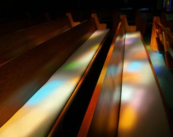 stained glass reflection, church pews, religious, wall decor, print art, photography