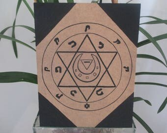 Talisman pentacle luck painted on wood altar esotericism Board