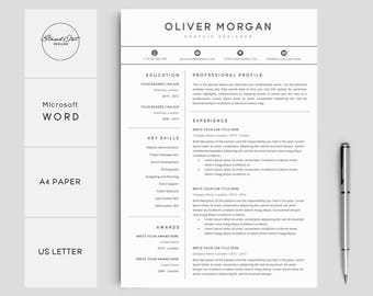 Resume Template | Professional Resume + Cover Letter | 3 Pages Pack | Creative  Resume Template  Creative Resume Template Word