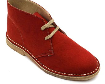 100% Italian handmade red low ankle boot