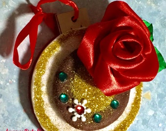 Christmas Red Rose Tsumami Mix Ornament