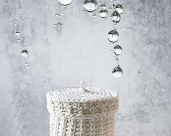 Crochet Storage basket with lid/Storage Basket/Make up Storage/Crochet Rope Basket/Keys Storage/ Nursery Basket/Gift for her/