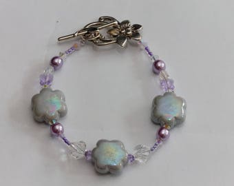 ceramic flowers and Swarovski Crystal bracelet, pastel grey/mauve nickel