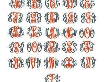 Circle Curlz Monogram Font Alphabet Cuttable Design PNG DXF SVG & eps Decal File Silhouette Designs Cameo