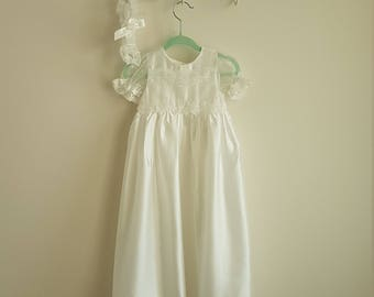 Extra-Long off-white Silk and Lace Christening Gown with matching headband