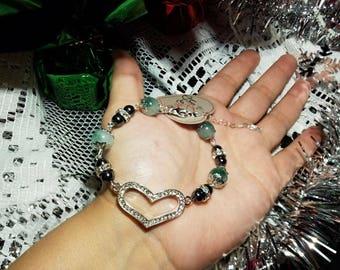Rhinestone Heart Bracelet with Heart Shaped Clasp Chain, Brilliant Jade gemstones with Filigree caps, and Rhinestone Spaced Hematite stones