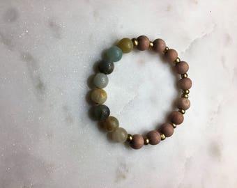 Amazonite, Rosewood, and Gold Beaded Bracelet
