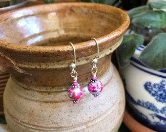 Free US shipping-Metallic orb earrings
