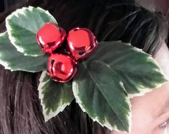 Handcrafted Mistletoe Bell Hair Clip (Jingle Junk)