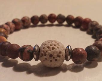 Children: Bracelet with Jasper and lava stones.