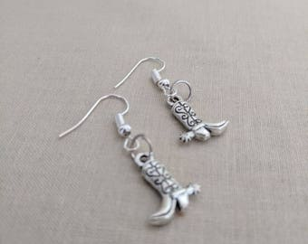 Mini Western Silver Cowboy Boots Earrings