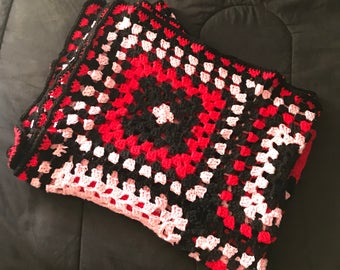 Red, Blank and Pink Granny Square Crochet Blanket Twin Size