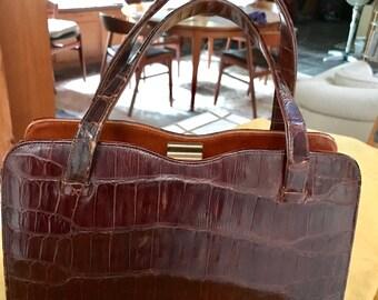 Elegant Vintage 40s Real Croc Handbag, Impress!