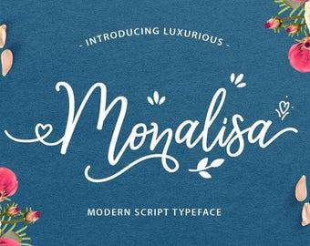 Calligraphy Font,  Swirly Font, Wedding Watercolor, Christmas font, Handwritten Script  Instant Download - Monalisa Luxurious Script Font