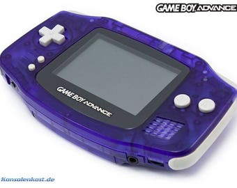 Gameboy Advance & 369 Games Glacier Purple with box + Worm light GBA