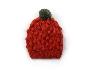 Hand made knitted hat - dark orange / green