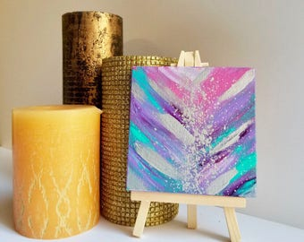 Small purple painting, mini Painting, mini art, tiny painting, tiny art, small canvas art, mini canvas art, 4x4 painting, small painting